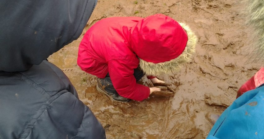 Coastal Kindergarten student doing what comes naturally